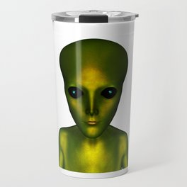 Alien Head and Shoulders Green Scaled Creature Travel Mug