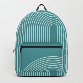 Geometric Lines in Teal Green Backpack