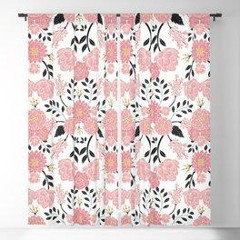 Pink, White, Black, Blue & Yellow Elegant Floral Pattern Blackout Curtain