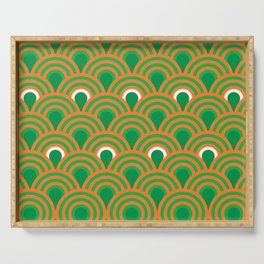 retro sixties inspired fan pattern in green and orange Serving Tray