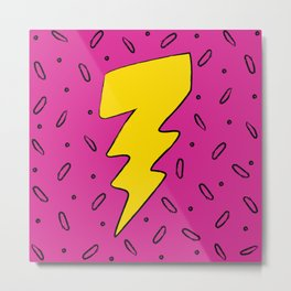 90's Retro Lightning Bolt in Hot Pink Metal Print