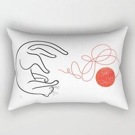 Cat with Ball of Yarn Rectangular Pillow