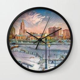 Winter Dreams - Providence, Rhode Island on a Winter's Day landscape Wall Clock