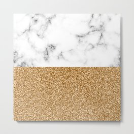 dip-dyed marble – yellow gold Metal Print