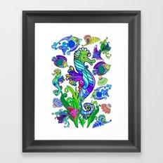 Marine Life Exotic Fishes & SeaHorses Ornamental Style Framed Art Print
