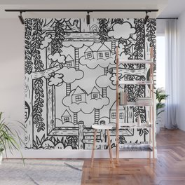 Forest Illustration #09 (White) Wall Mural