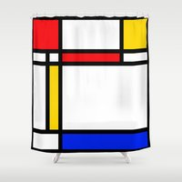 mondrian Shower Curtains featuring Mondrian by The Wellington Boot