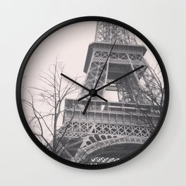 Eiffel tower, Paris, black & white photo, b&w fine art, tour, city, landscape photography, France Wall Clock