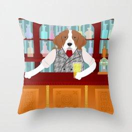 Beagle Beer Pub Throw Pillow