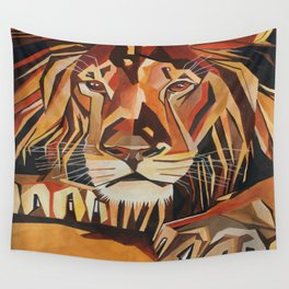 Lion Vector In Cubist Style Wall Tapestry