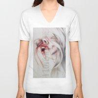 medicine V-neck T-shirts featuring I LOVE MEDICINE by Rosalind Breen