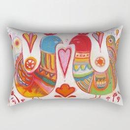 Folk Love Birds Rectangular Pillow