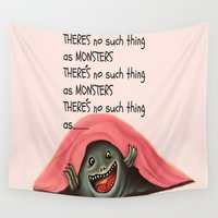 monsters Wall Tapestries featuring Monsters by Veronica Ventress