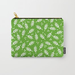 Christmas Pattern, Whimsical Leaves, Green Carry-All Pouch