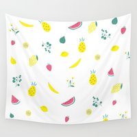 fruits Wall Tapestries featuring Fruits by haroulita