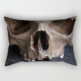 Male skull on rusty metal background Rectangular Pillow
