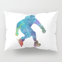 Man roller skater inline in watercolor Pillow Sham