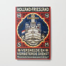 Holland Friesland Vintage Travel Poster Metal Print