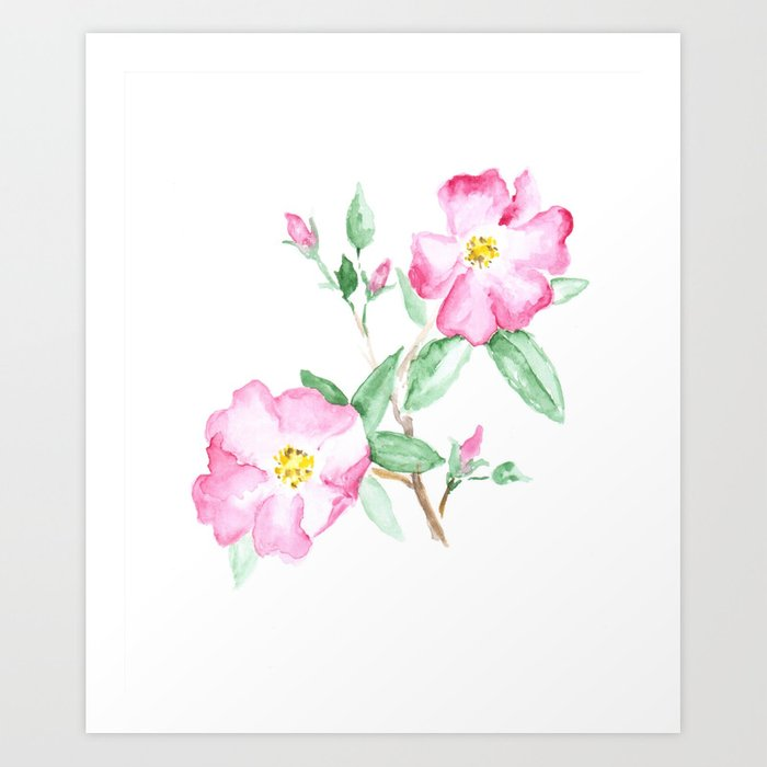 Wild rose watercolor art pink flower painting nature art flowers wild rose watercolor art pink flower painting nature art flowers art print mightylinksfo