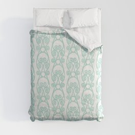 Modern Farmhouse Scroll Ikat Pattern - White Blue Comforters