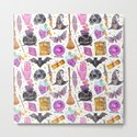 Pink gold black watercolor hand painted halloween pattern by pink_water