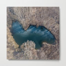 Frozen pond aerial view. Spring landscape from drone. Metal Print