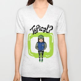Illustration for t-shirt with girl in sneakers and college jacket Unisex V-Neck