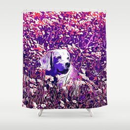 beagle dog flower field vector art purple Shower Curtain