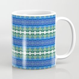 Neo Tribal Micro Pattern Geometric  Sea Green & Indigo & Blue Coffee Mug