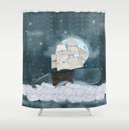 the sky whale Shower Curtain