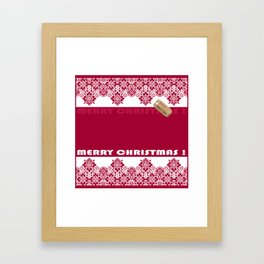 Merry Christmas ! Red lace pattern .Gift . Framed Art Print