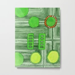 Embedded in Green Metal Print