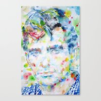 kerouac Canvas Prints featuring JACK KEROUAC - watercolor portrait by LAUTIR