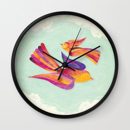 Shanti Sparrow: Daisy and Dawn the Sparrows Wall Clock