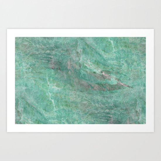 Mossy Woods Green Marble Art Print