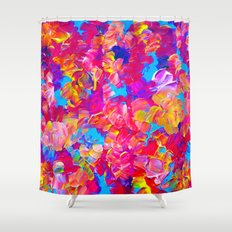 FLORAL FANTASY Bold Abstract Flowers Acrylic Textural Painting Neon Pink Turquoise Feminine Art Shower Curtain