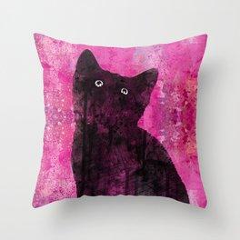 Cat Inkwash Throw Pillow