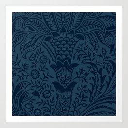 Tropical pattern blues Art Print
