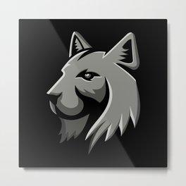 Bobcat Head Metallic Icon Metal Print