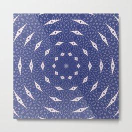 Navy Blue and Pink Mitochondria Mandala Metal Print