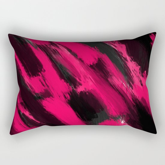 Modern Abstract Pillow : Modern abstract neon pink black brushstrokes pattern Rectangular Pillow by Girly Trend Society6