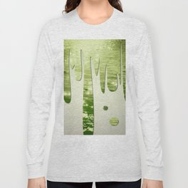 Glittery Green Ocean Dripping On Cream Textured Wall Long Sleeve T-shirt