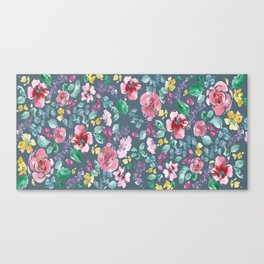 Pink Flowers on Gray Canvas Print