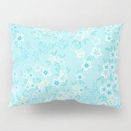 Forget Me Knot - Little Flowers on aqua Pillow Sham