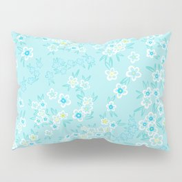 Forget Me Knot - Little Flowers on aqua Pillow Sham