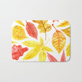 Atumn leaves watercolor Bath Mat