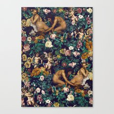 Young Greeks and Floral Pattern Canvas Print