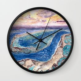 Great Barrier Reef at sunset - aerial view - coral reef - wall art Wall Clock