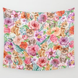 Kittens in flowers Wall Tapestry