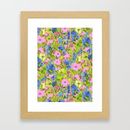 Wild GardenPink on Lime Framed Art Print